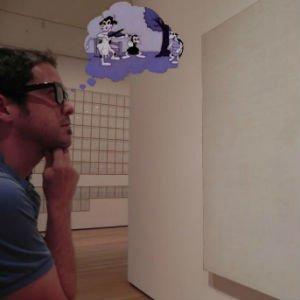 Yo, con un lienzo vacío y mis gafas de pensar
