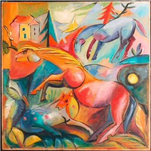 Paisaje con caballos de Campendonk
