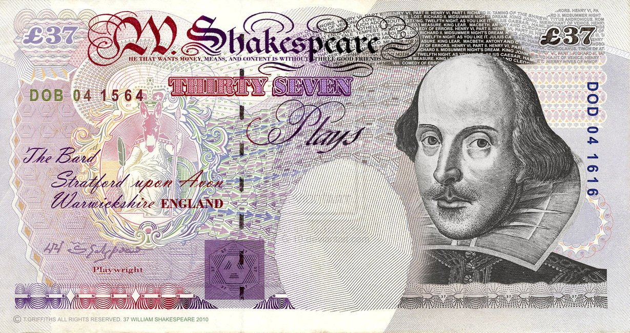 Ficticio billete de Shakespeare