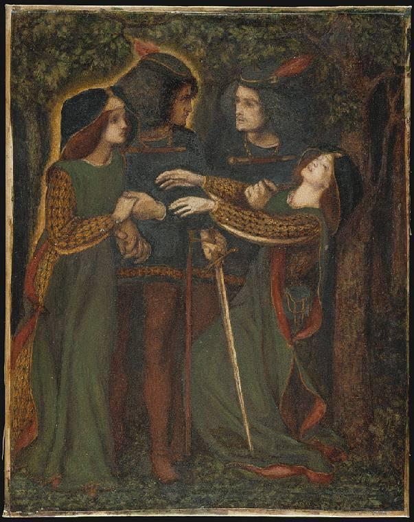 Pareja conociendo a sus dobles por Dante Gabriel Rossetti