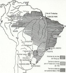 Situación en las áreas coloniales de Sudamérica a mediados del s. XVIII