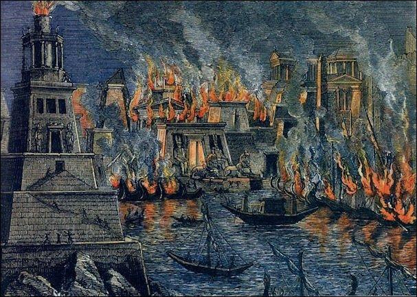 Incendio de Alejandría por Hermann Goll, 1876
