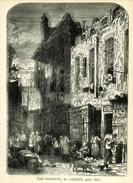 Una calle de la zona, en 1800