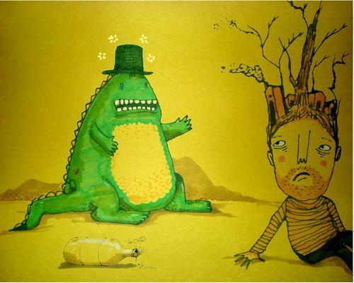 Cuando despertó, el dinosaurio todavía estaba allí