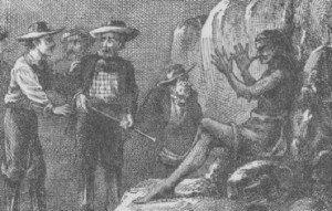 Ilustración del hombre petrificado de Twain