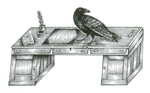 Cuervo y escritorio