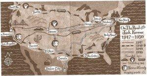 Mapa vintage de En el camino