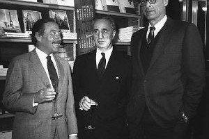 Arthur Miller, Tennessee Williams y Elia Kazan en Nueva York en 1967