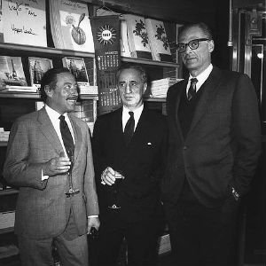 Arthur Miller, Tennessee Williams y Elia Kazan en Nueva York en 1967