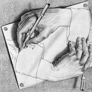 Manos dibujando de Escher