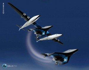 El SpaceShipTwo siendo elevado antes de lanzarse al espacio