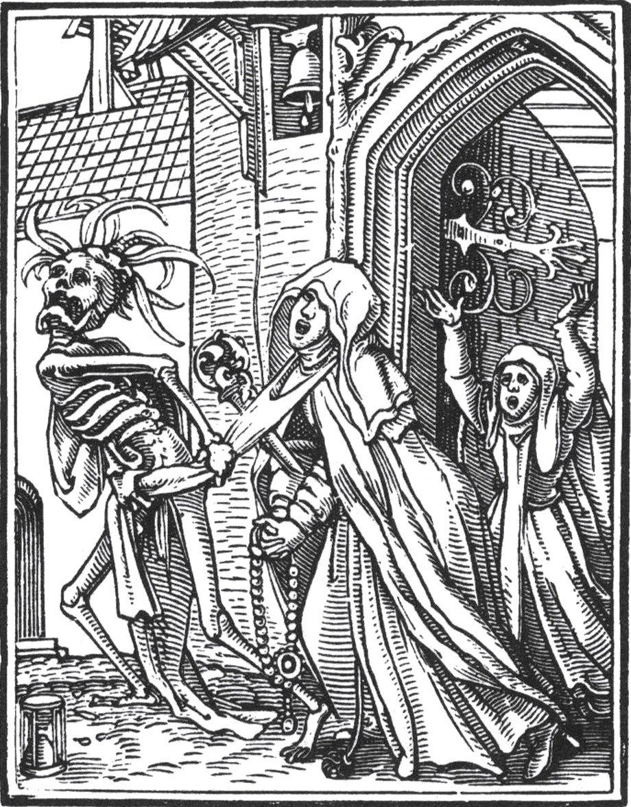 Hans Holbein el Joven. Grabado: La danza de la muerte. La abadesa