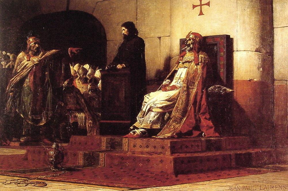 El papa Formoso y Esteban VI, pintado por Jean-Paul Laurens