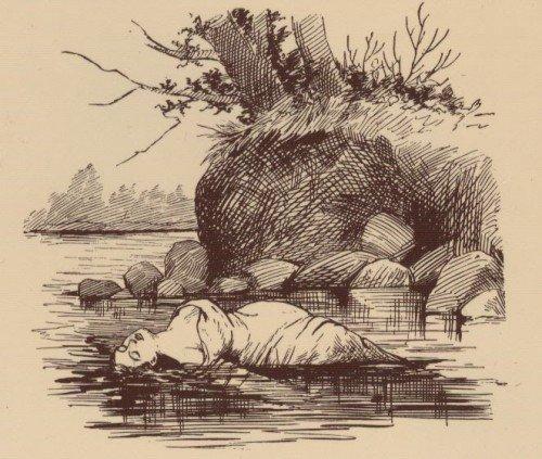 Ilustración de 1841 de María Rogers en el río