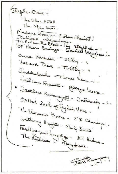 Esta es la lista que Hemingway le entregó a Samuelson