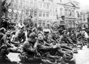 Soldados británicos que participaron en la batalla de Mons