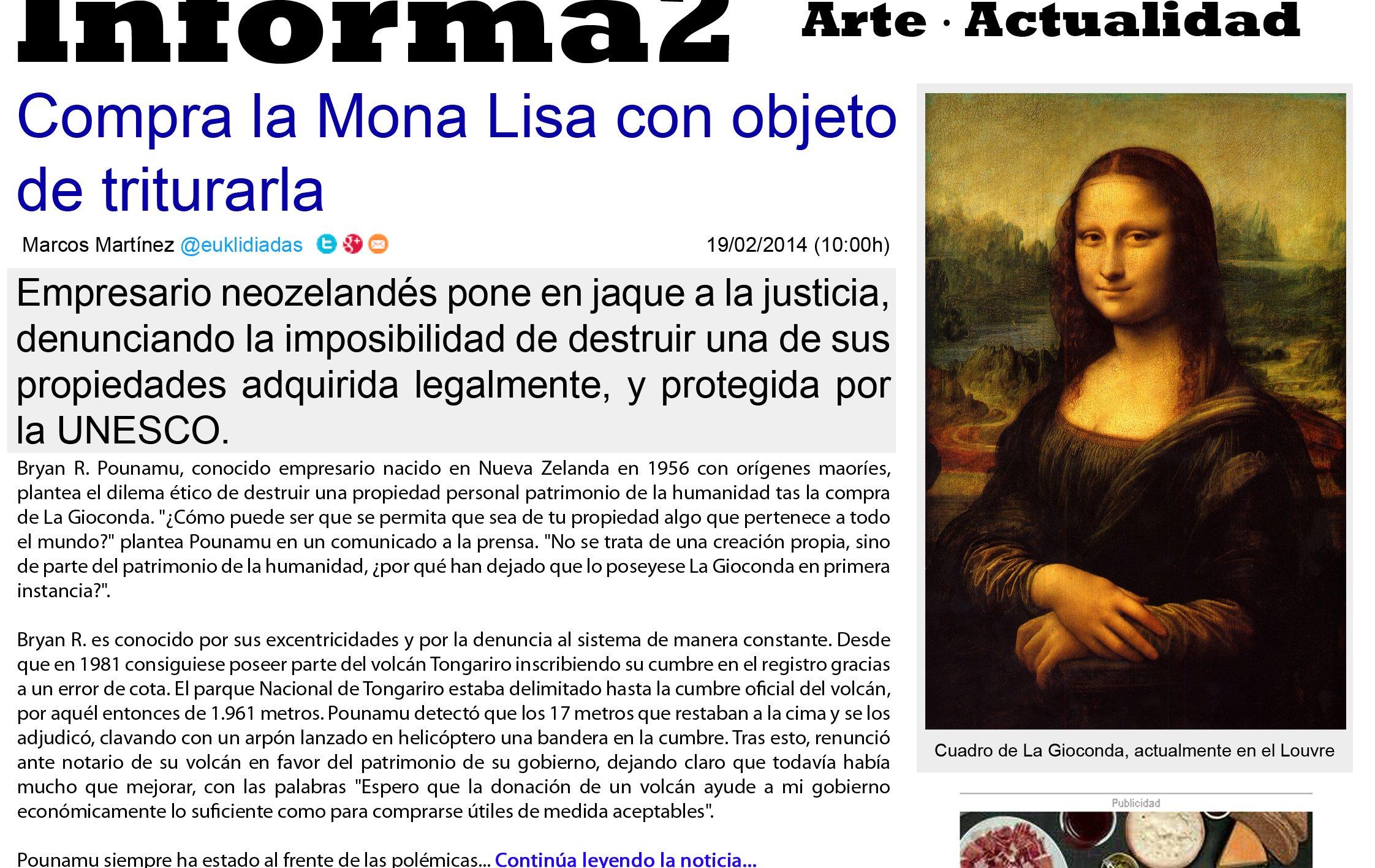 Compra la Mona Lisa con objego de triturarla