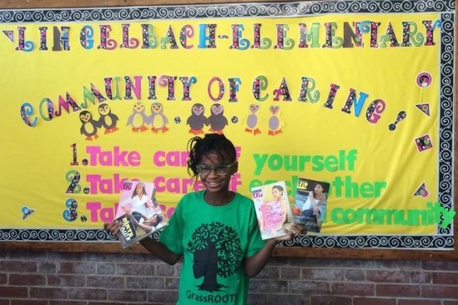 Marley Dias en su campaña de donación