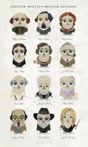 Serie de escritores como búhos