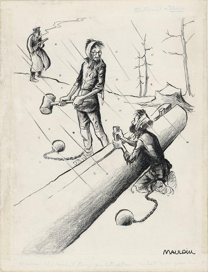 Viñeta humorística de Bill Mauldin que en 1959 le valió un Pulitzer. Pasternak, ejerciendo trabajos forzados en un gulag soviético, dice a su compañero: «Yo gané un Nobel. ¿Cuál es tu crimen?»