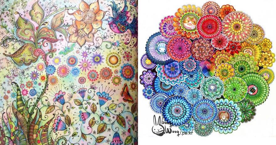 Páginas de El jardín encantado de Johanna Basford