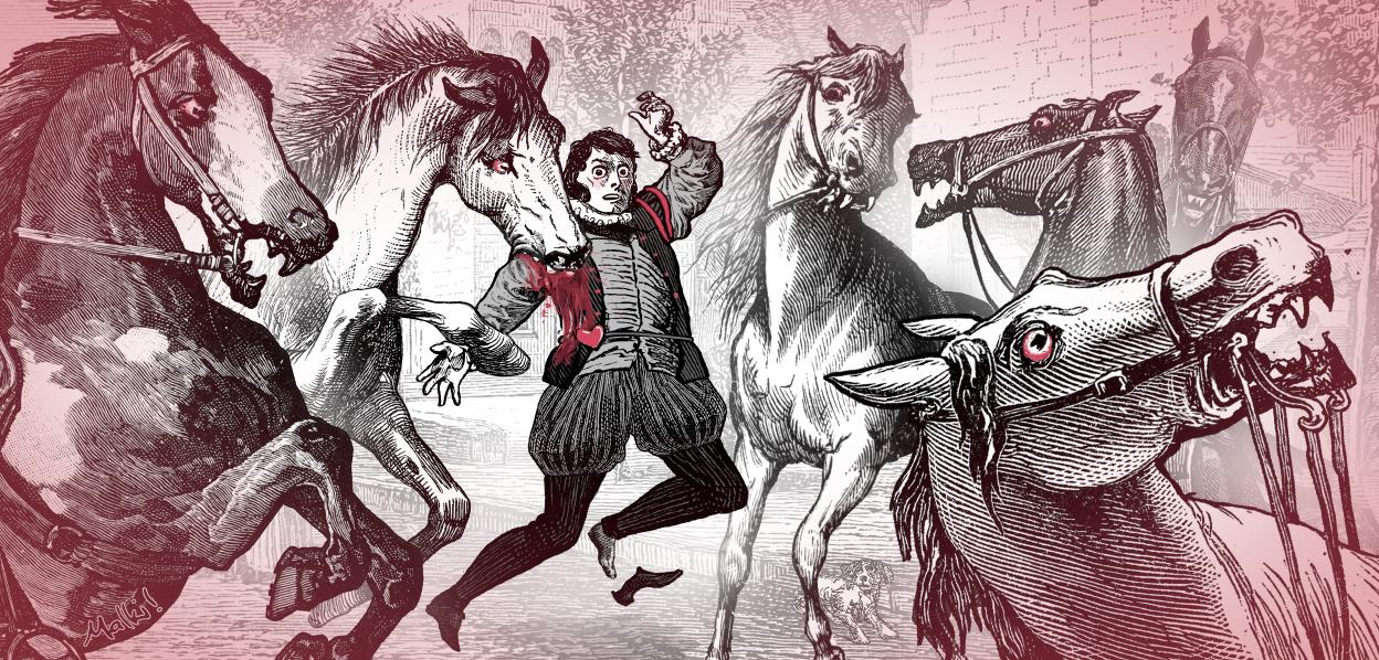 Romeo atacado por caballos zombis