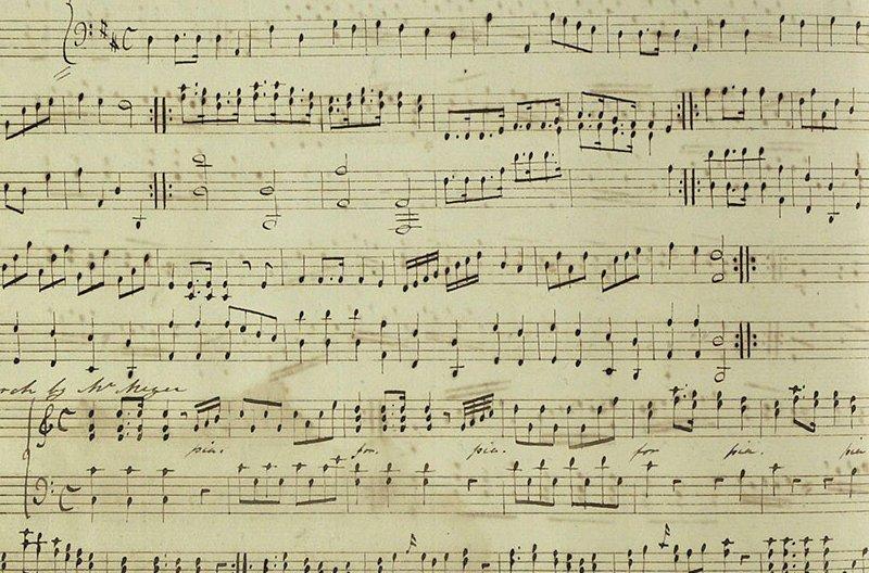 Partitura musical de puño y letra de Jane Austen