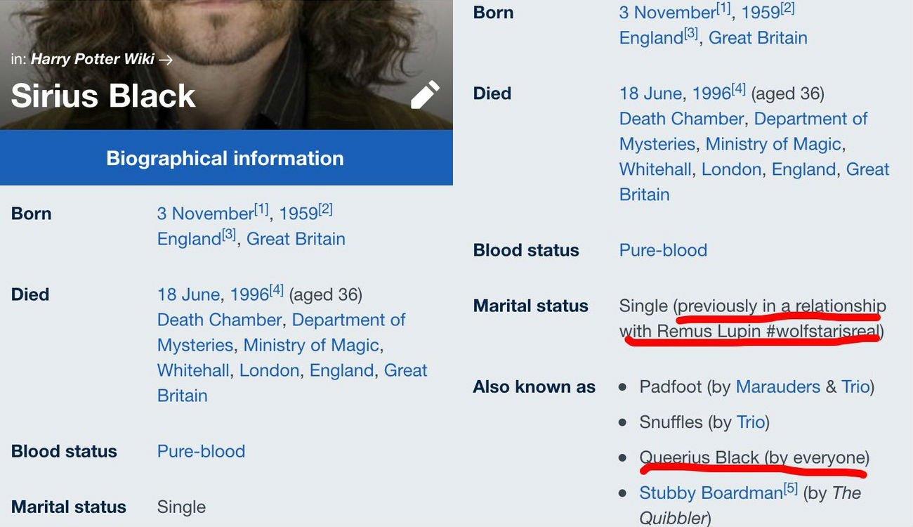 Incluso cambiaron los datos referentes a Sirius Black en Wikia. Fuente: Twitter.