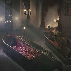 Recreación de la cripta del castillo de Bran