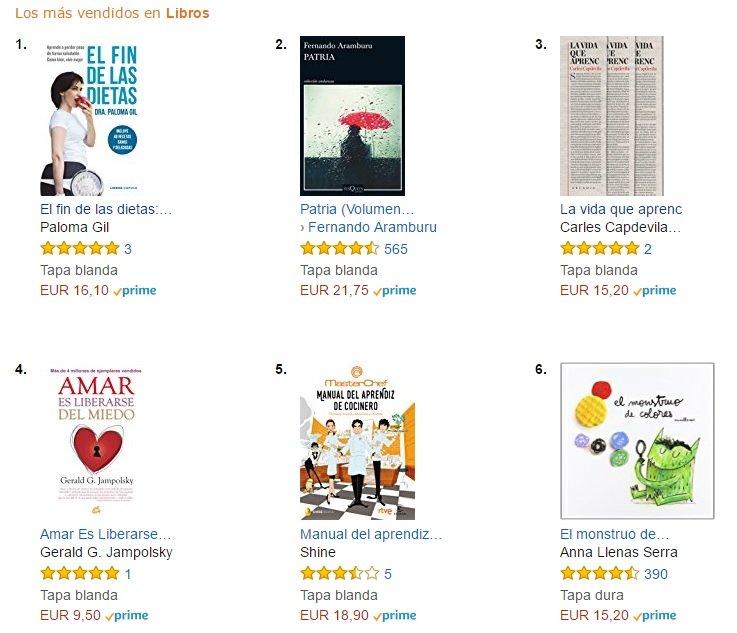 los más vendidos de Amazon libros
