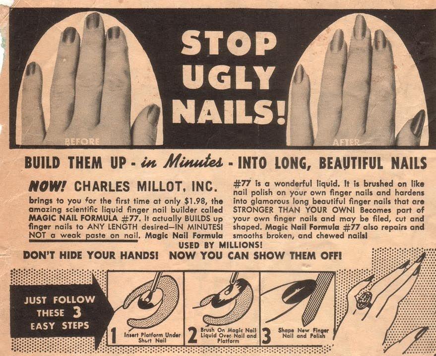 Producto químico para no morderse las uñas anunciado en un tebeo infantil