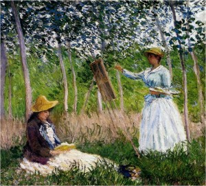 Suzanne leyendo y Blanche pintando en el pantano de Giverny