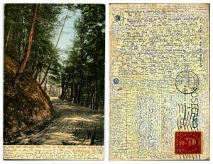 Postal cruzada en la que Arthur H. Goodenough entrevista a H. P. Lovecraft