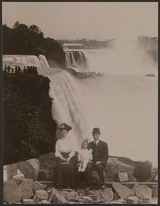 Family in front of Whirlpool Rapids, Niagara Falls