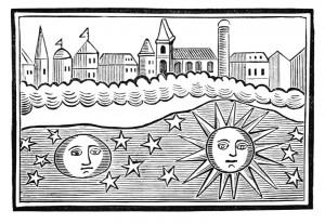 El sol, la luna, las estrellas y la tierra boca abajo