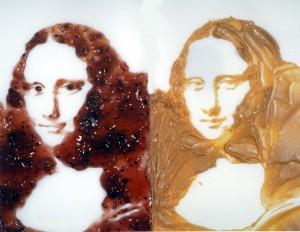 Mona Lisa con mermelada y mantequilla de cacahuete